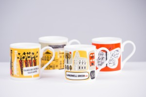 Four Mugs with Camberwell-related designs